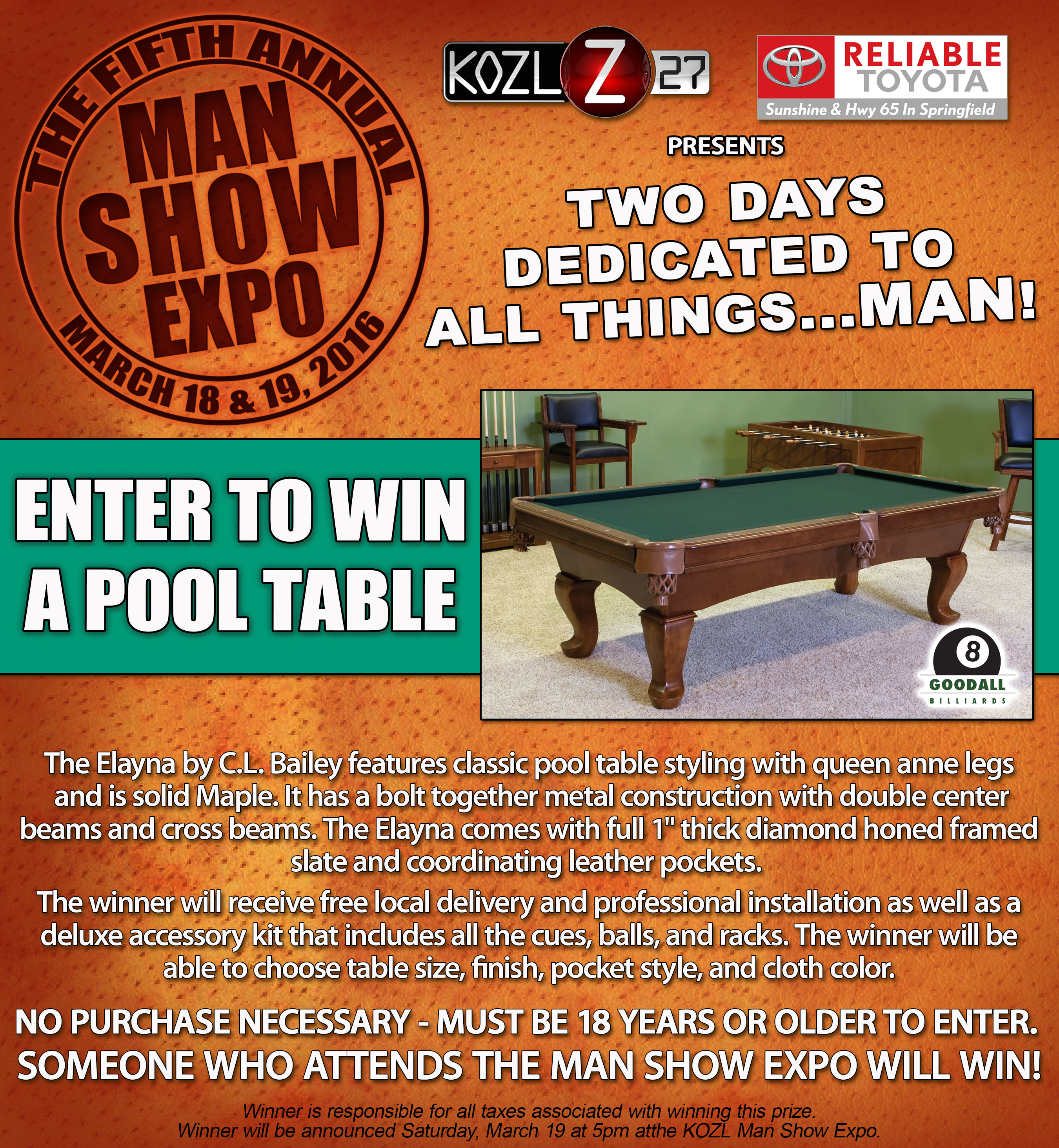 2016 POOL TABLE PROMO
