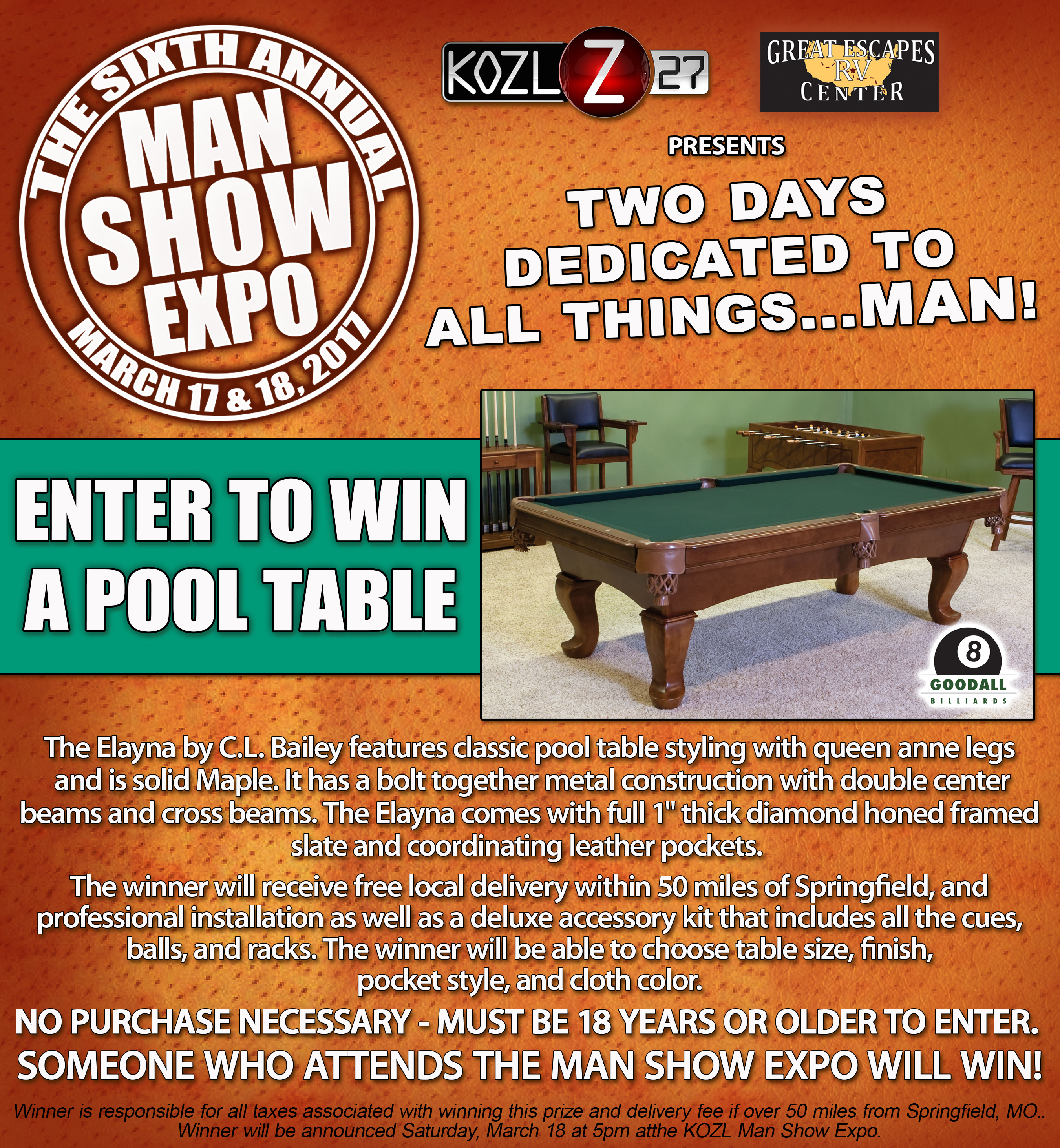 2017 POOL TABLE PROMO