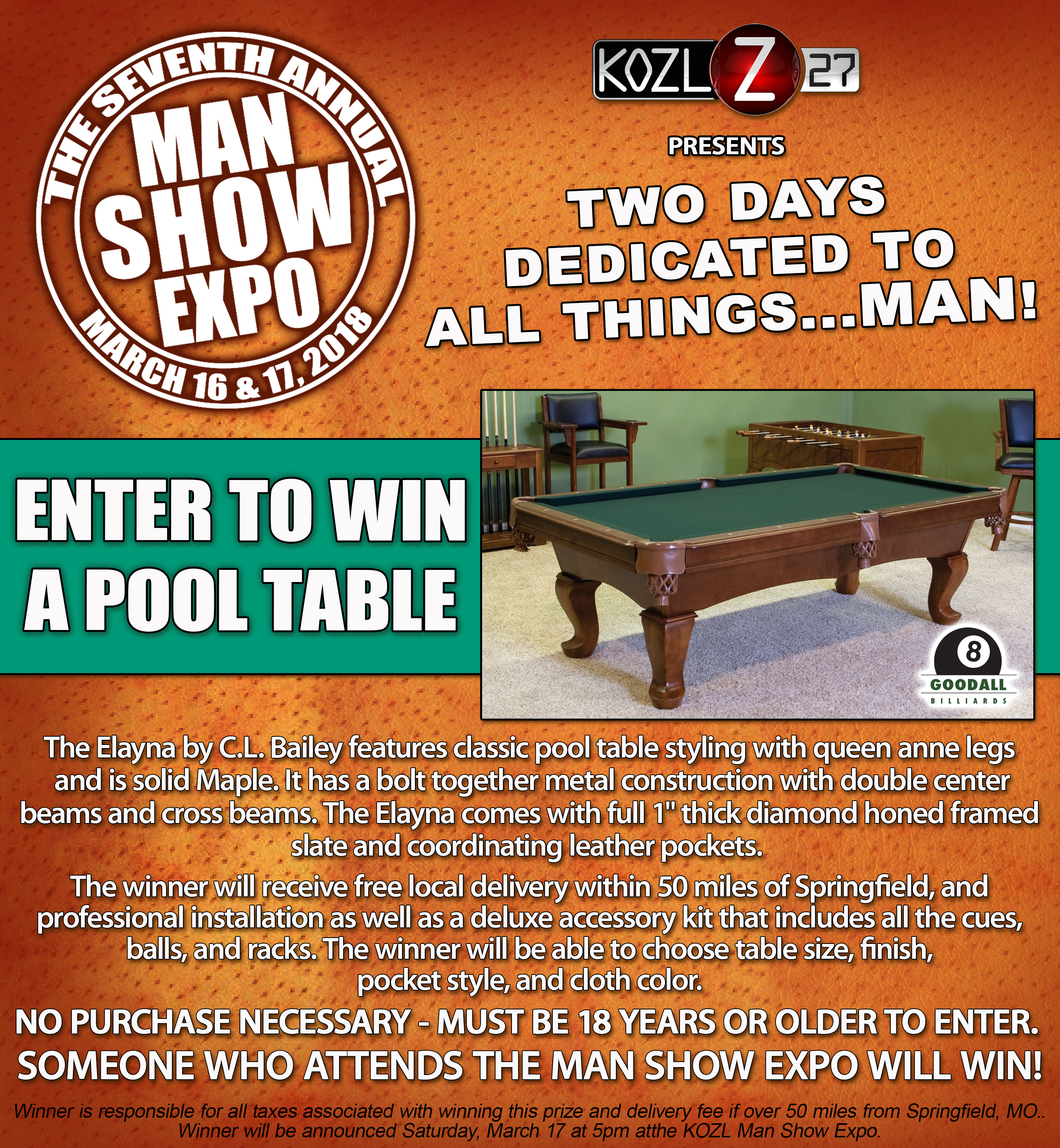 2018 POOL TABLE PROMO